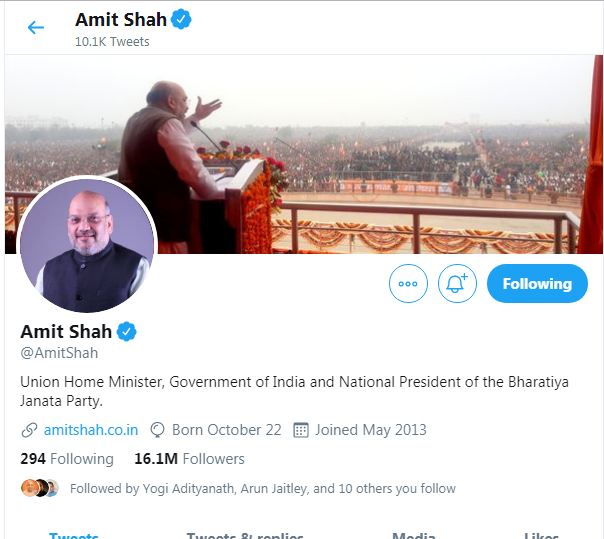 Home Minister Amit Shah Twitter Followers
