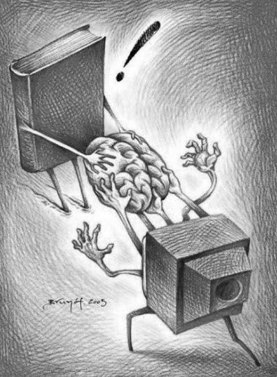 Meme de humor sobre libros y televisión