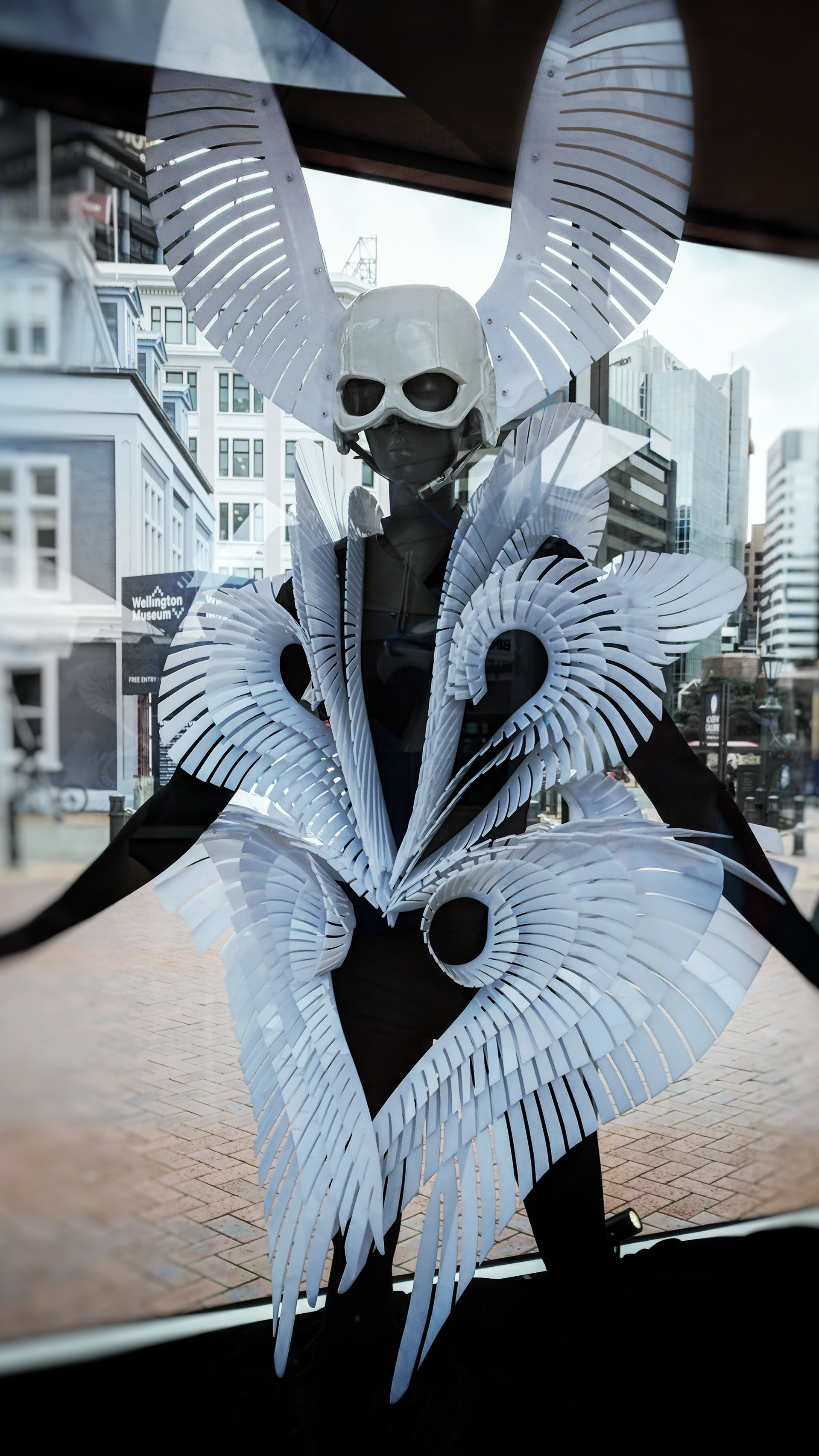 World Of WearableArt costume on display at Queens Wharf, Wellington