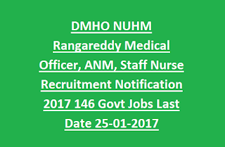 DMHO NUHM Rangareddy Medical Officer, ANM, Staff Nurse Recruitment Notification 2017 146 Govt Jobs Last Date 25-01-2017