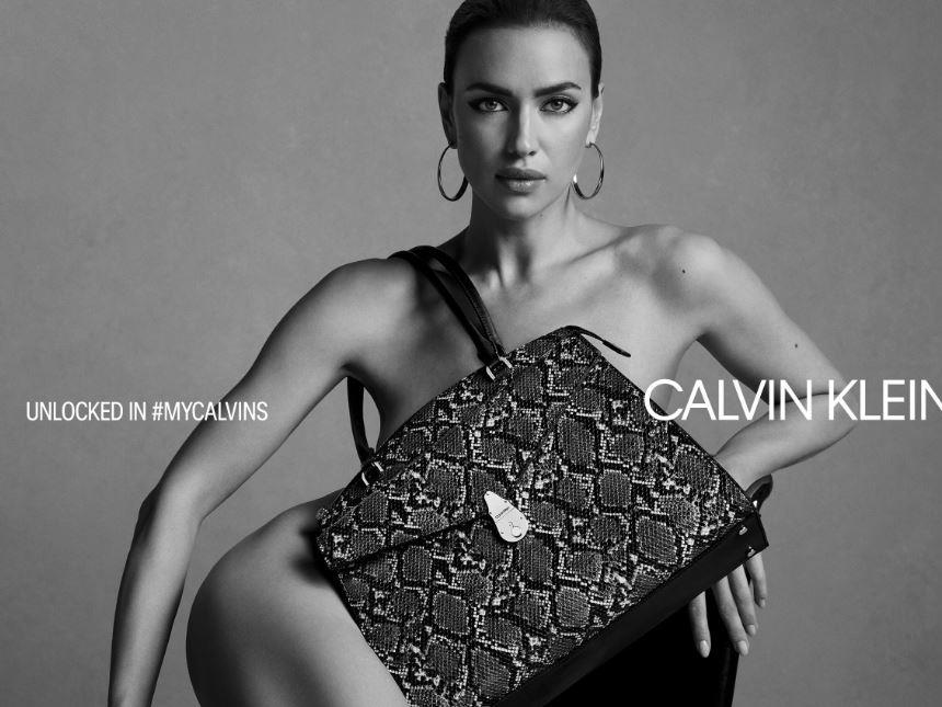 Irina Shayk goes nude for the Unlocked in MYCALVINS Handbag Campaign