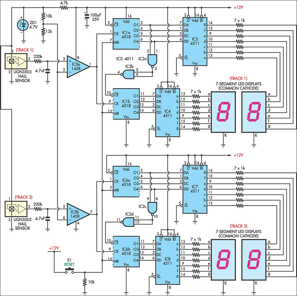 Afx Slot Car Lap Counter Circuit Diagram The Year 2 Both Circuits Are Identical With Dual Op Amp Ic5 Handling Signals From Sensors Ic5a And Ic5b Wired As Comparators