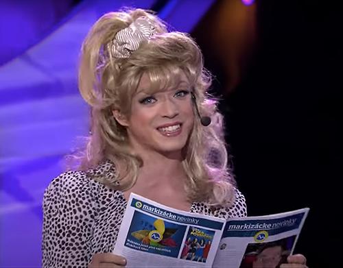 Dávid Hartl femulates Kylie Minogue on Slovakian television's Tvoja Tvar Anie Povedome