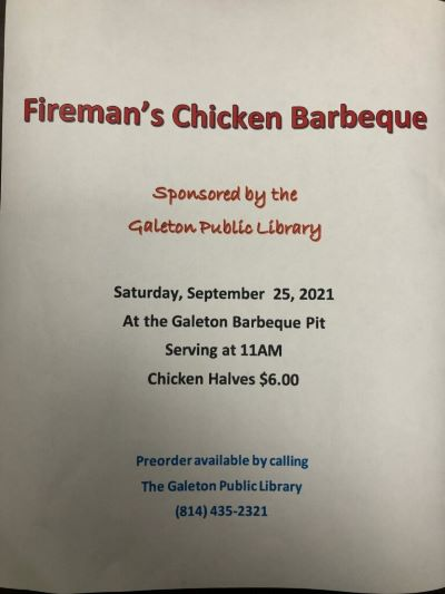 9-25 Chicken BBQ At The Galeton Barbeque Pit