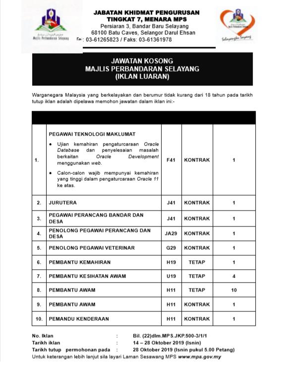 Jawatan Kosong Terkini di Majlis Perbandaran Selayang (MPS).