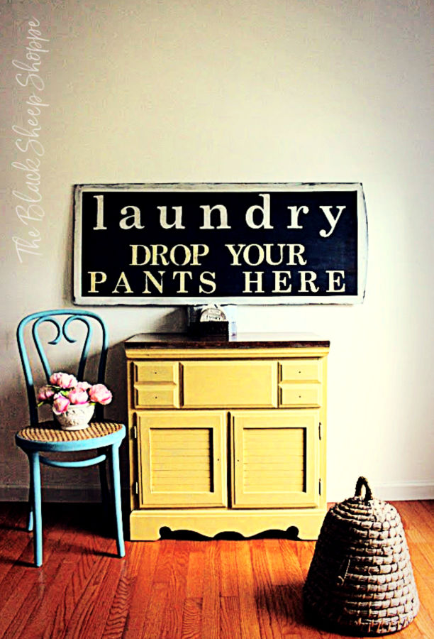 Hand painted large laundry sign.