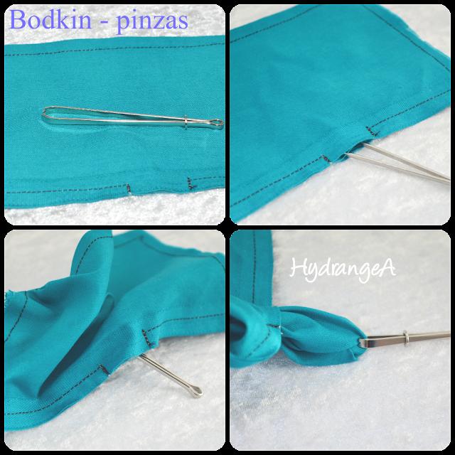 Voltear una pieza de tela con una pinza o bodkin