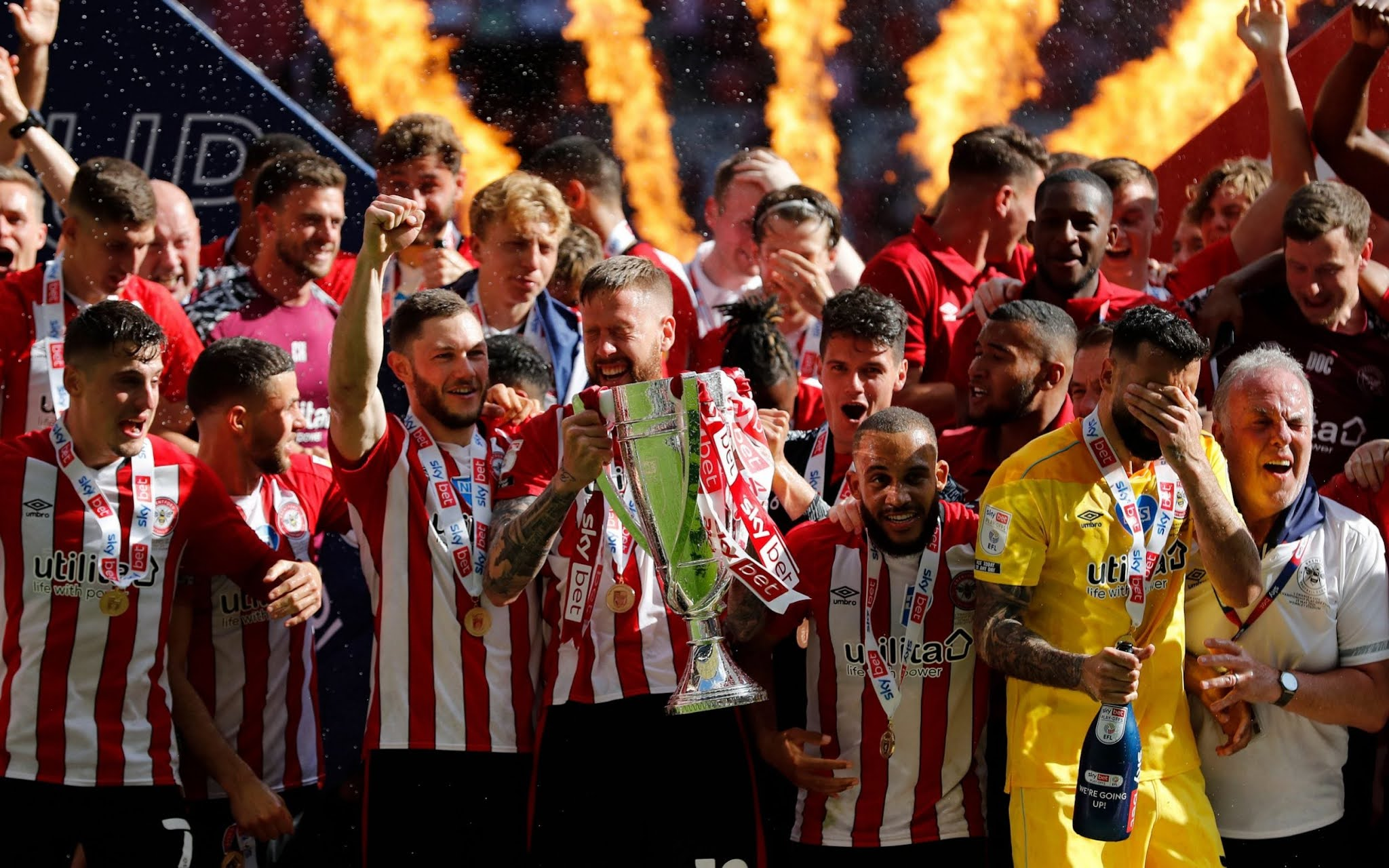Brentford celebrate promotion to the top-flight after 71 years