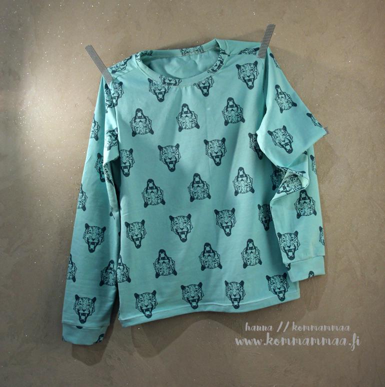 tiikerikuosinen mintunvihreä paita pojalle