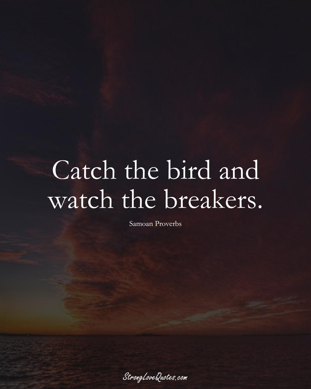 Catch the bird and watch the breakers. (Samoan Sayings);  #AustralianSayings