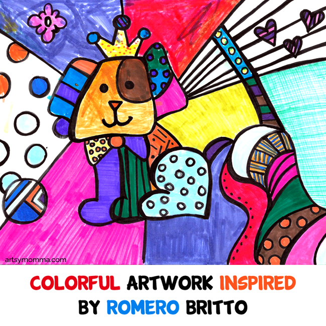 Romero Britto- Colourful Pop Art Artwork for kids.  Exploring famous artists.