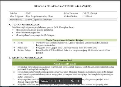 Download Lengkap - RPP Ilmu Pengetahuan Alam (IPA) Kelas 7 Semester 2