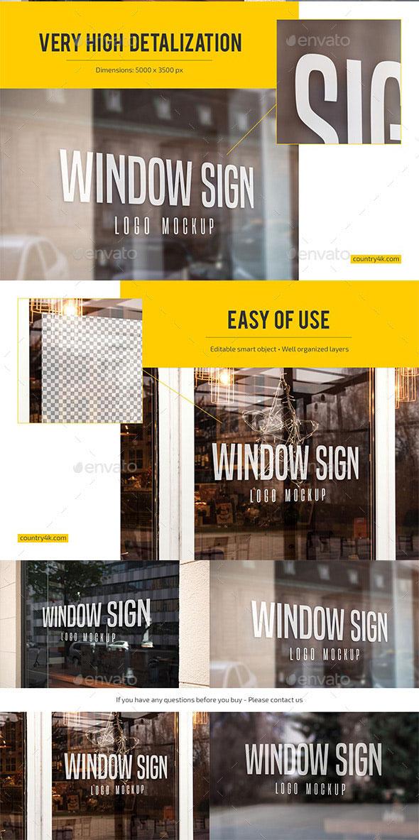Window Sign Logo Mockup Set 27880965 Free Download