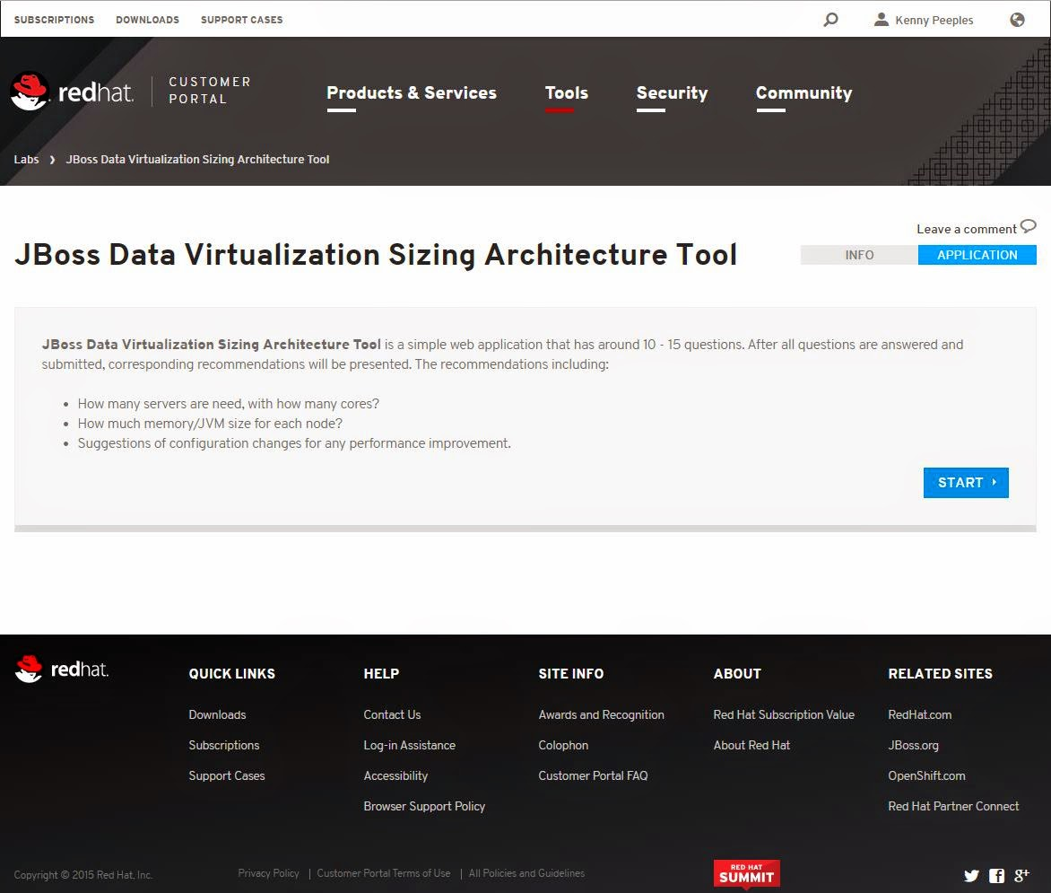The Open Universe: JBoss Data Virtualization Sizing Architecture Tool