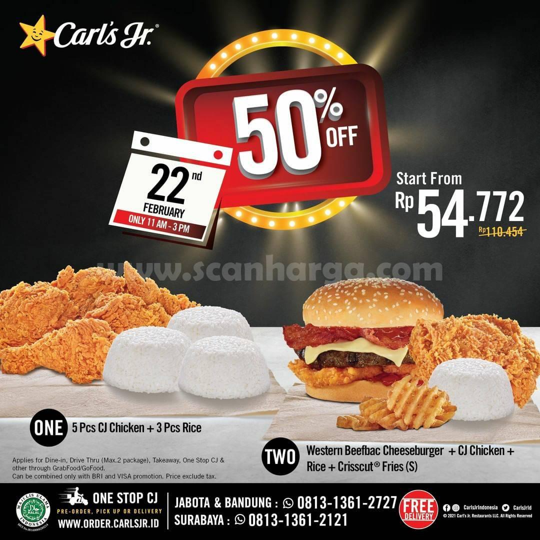 CARL'S JR Promo REZEKI TENGAH MINGGU DISKON 50%