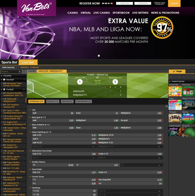 Vonbets Live Betting Screen
