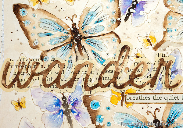Layers of ink - Watercolor Butterflies Art Journal Page by Anna-Karin Evaldsson. Die cut the title.
