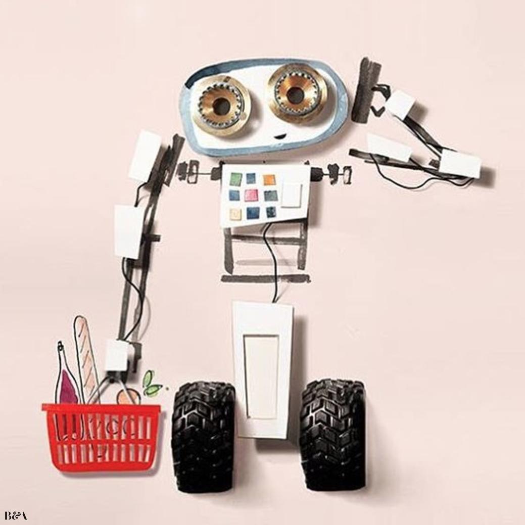 赤い買い物籠を持った二つの太いタイヤ付きの可愛らしいロボット