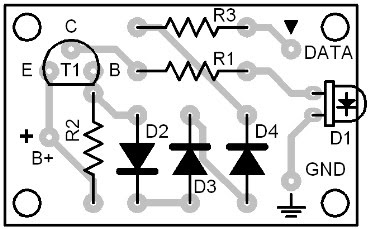 Parts Placement Layout Infrared Interface (Transmitter Circuit)