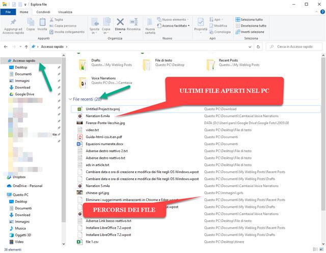 file recenti di windows in accesso rapido