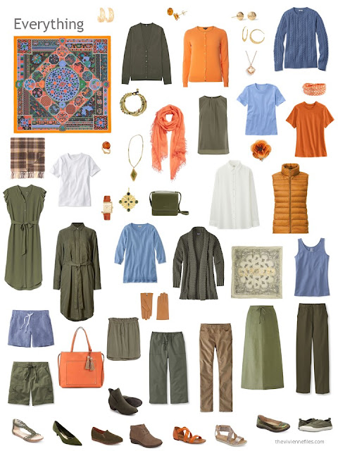 a capsule wardrobe in olive, orange and blue