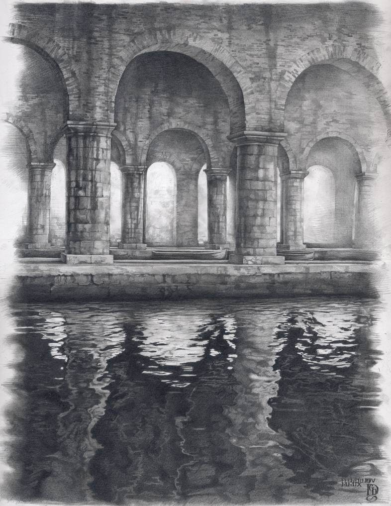 11-Venice-Denis-Chernov-Urban-Architecture-Pencil-Drawings-www-designstack-co