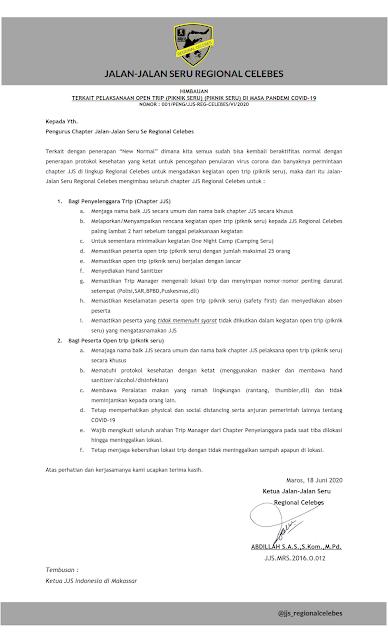 Surat Himbauan Petunjuk Pelaksanaan Open Trip (Piknik Seru) di Masa Pandemi COVID-19