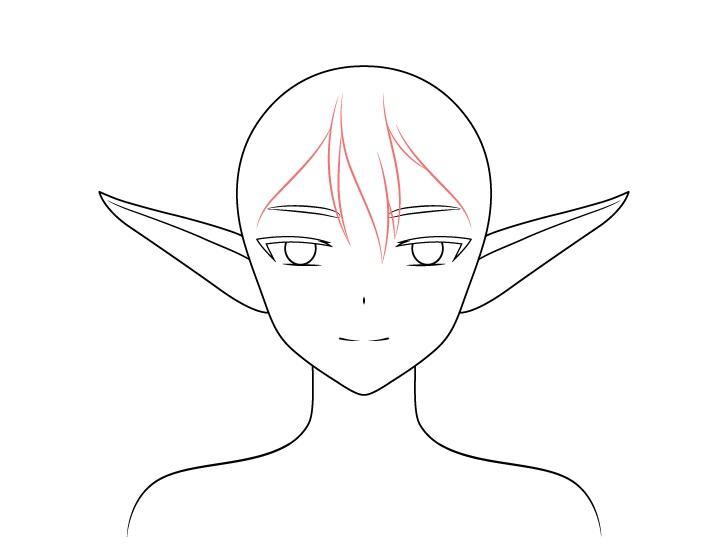Gambar rambut depan gadis anime elf
