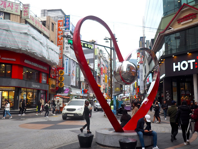 Heart statue in the shopping streets in Seomyeon, Busan, South Korea
