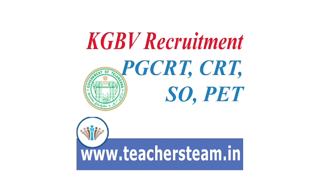 Recruitment of SO, PGCRT, CRT and PET Qualifications for KGBV/URS in Telangana
