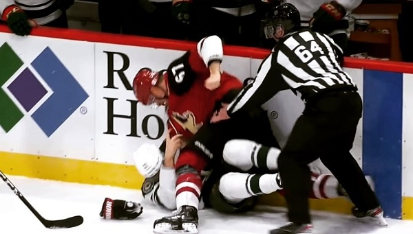 lawson crouse nhl hockey fight carson soucy