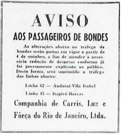 Anúncio da Companhia de Bondes Elétricos do Rio de Janeiro nos anos 50 informando sobre a redução de linhas.