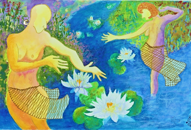 2018 Waterlily Nude Dance Watercolour, pastel & hand-stitching with Scottish Flax Thread by Minaz Jantz