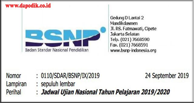 Jadwal Terlengkap Semua Jenjang Ujian Nasional Tahun Pelajaran 2019/2020