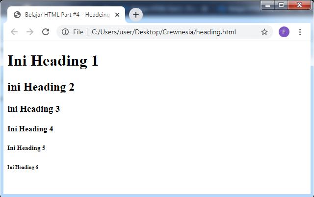 Crewnesia - Heading Pada HTML