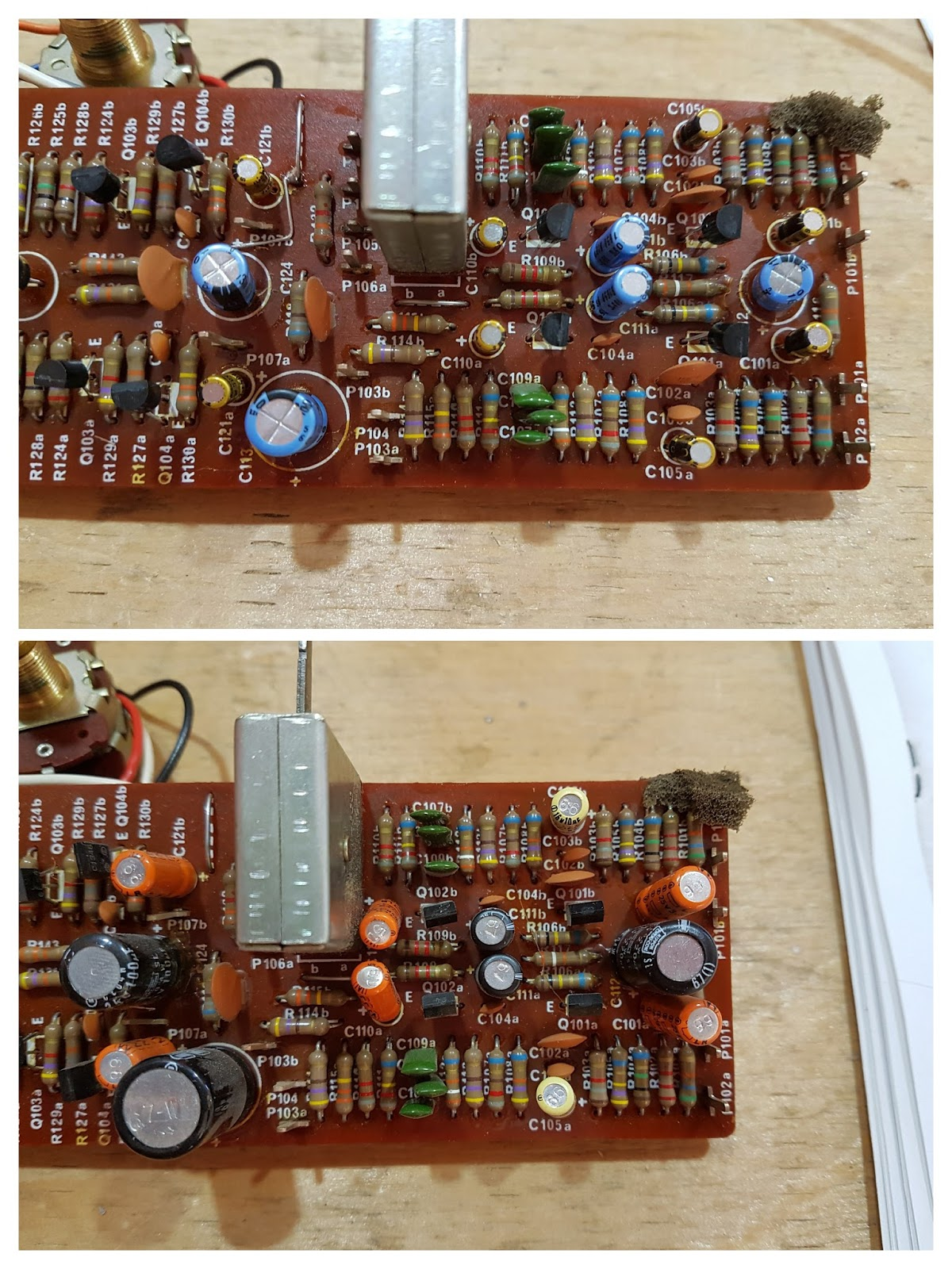 Brahm Rebuilding A 1977 Luxman L 30 Stereo Amplifier Pin Circuit Board Capacitors Electronics Operational Amplifiers On Top Pb 1008 With New Blue Gold And Transistors Black Bottom Original