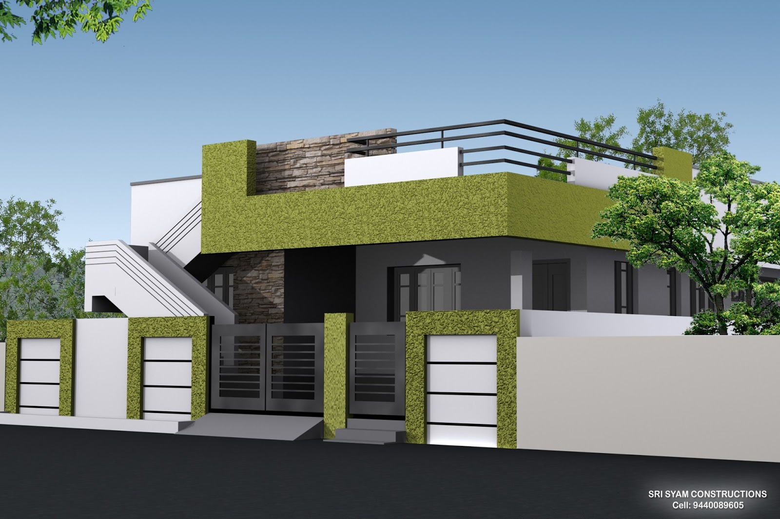 Single floor house elevation models paint design for House elevation models