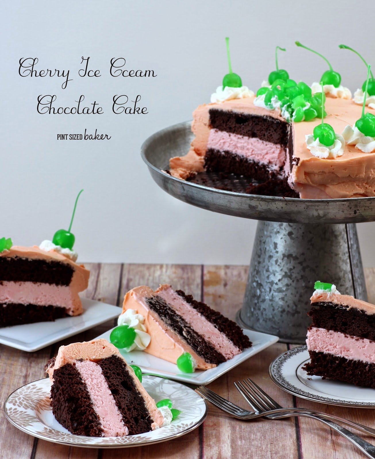 Cherry Ice Cream and Chocolate Cake with Cherry Mousse Frosting. A Delicious Spring Cake!