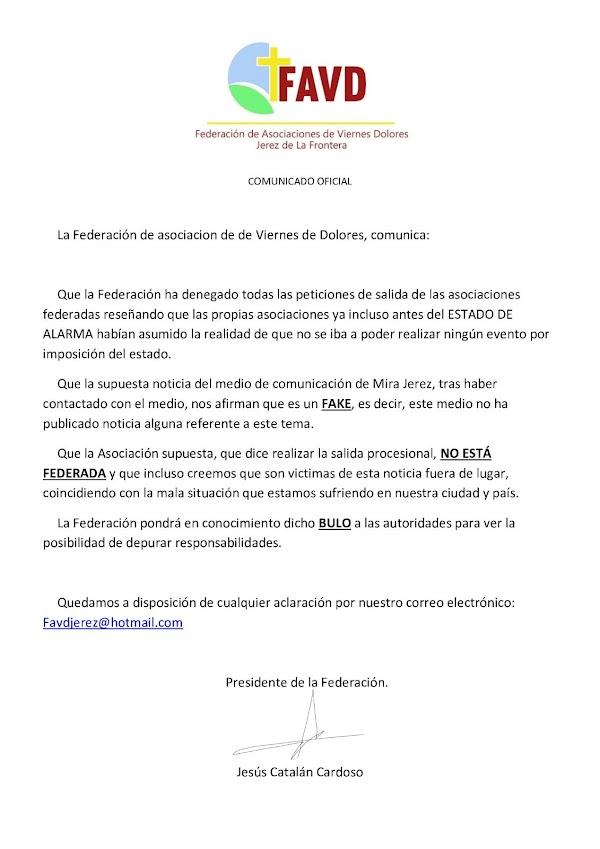 El bulo que circula por redes en Jerez: No habrá procesiones el Viernes de Dolores