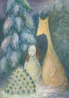 Postcard illustration of Hulmu Hukka and Haukku Spaniel sitting behind a snow lantern in winter night