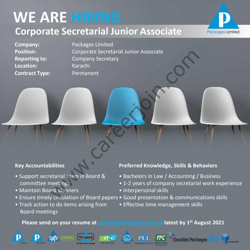 Packages Ltd Jobs Corporate Secretarial Junior Associate