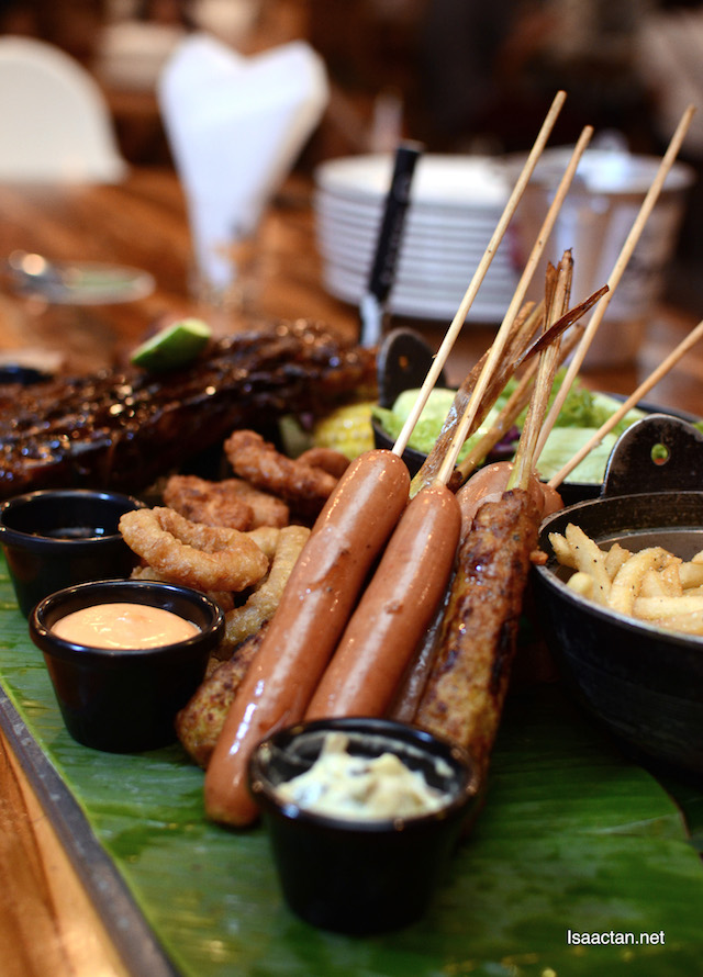 The sausages: Vienna Cheese Sausage, Honey BBQ Sausage and BBQ Satay Lilit