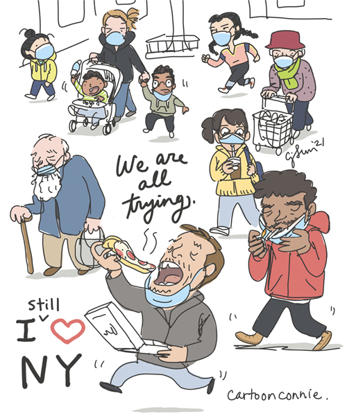 Sketchbook illustration of New Yorkers walking, wearing masks, eating pizza, having coffee on-the-go.  Original artwork by Connie Sun, cartoonconnie