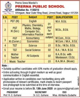 Nagpur, Prerna Public School TGT, PGT Teacher Recruitment 2020