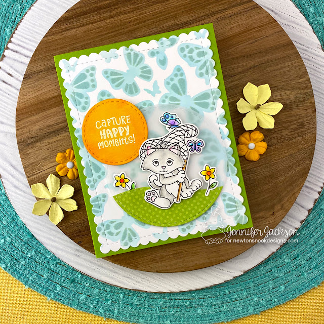 Newton's Nook Designs & Therm O Web Inspiration Week | Kitten card by Jennifer Jackson | Captivated Kittens Stamp Set, Circle Frames Die Set and Butterflies Stencil Set by Newton's Nook Design with Flock by Therm O Web #newtonsnook #handmade