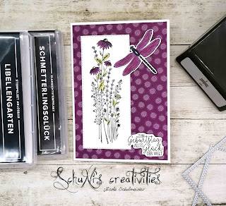 Produktpaket Libellengarten, Stempelset Schmetterlingsglück; Designerpapier 6x6 Löwenzahngarten; Stanzformen bestickte Rechtecke