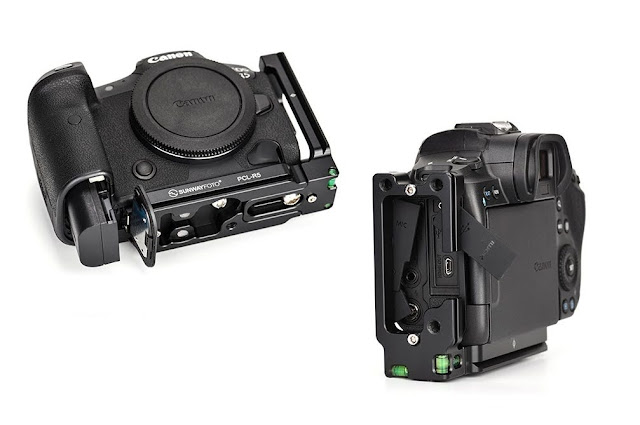 Sunwayfoto PCL-R5 on EOS R5 battery and side connectors access
