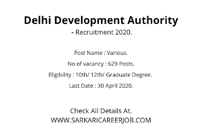 DDA Vacancy 2020 Apply Online | 629 Posts DDA Latest Govt Jobs 2020.