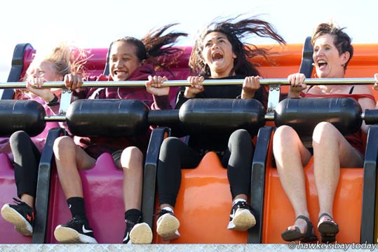 On the Scream Machine, Mahons Amusements and carnival, a first time attraction at Cox Partners Hawke's Bay Christmas at the Park, Hawke's Bay A&P Showgrounds, Hastings. photograph
