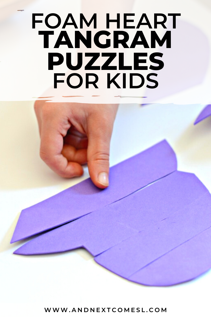 Heart shaped tangram puzzles for kids are a great Valentine's Day activity!